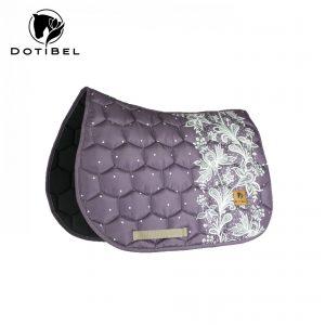 Czaprak SATIN: fiolet/jasnobeżowa koronka