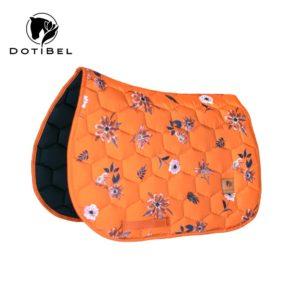 Czaprak SATIN: pomarańczowy/brązowe kwiaty